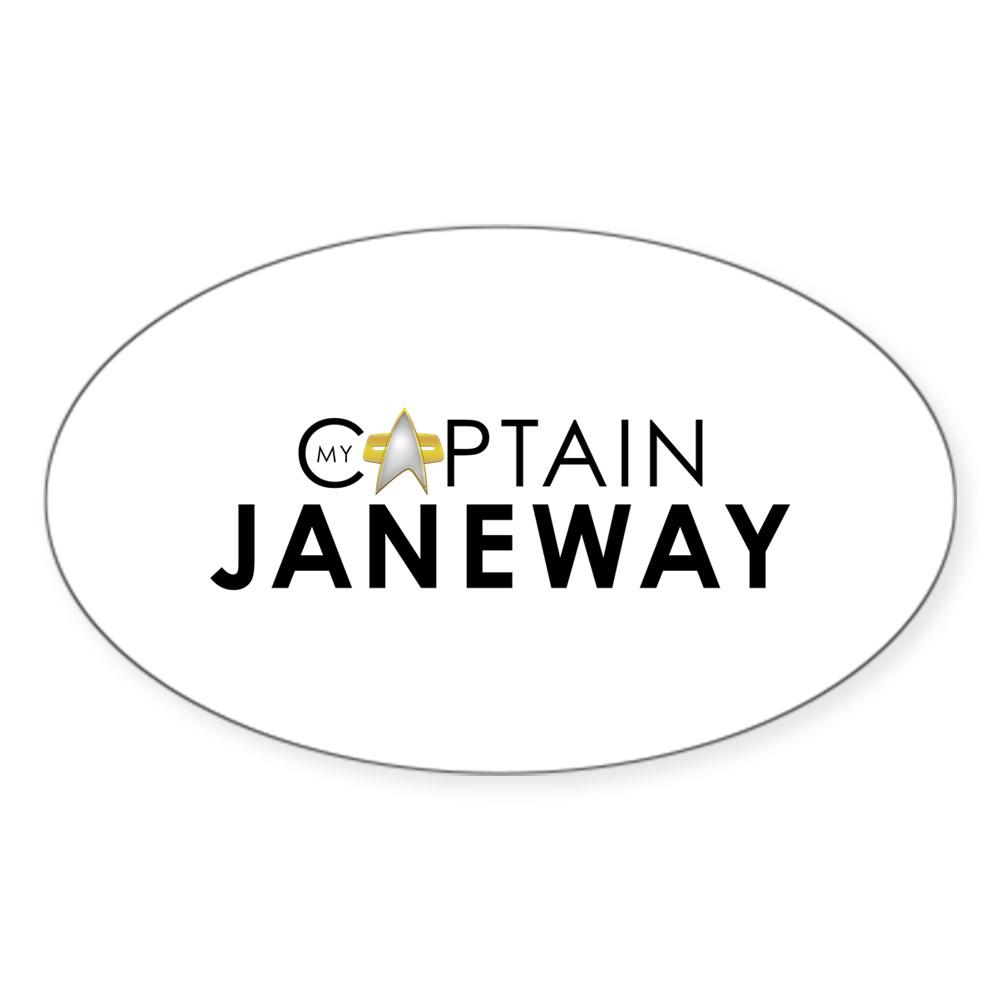 My Captain: Janeway Oval Sticker
