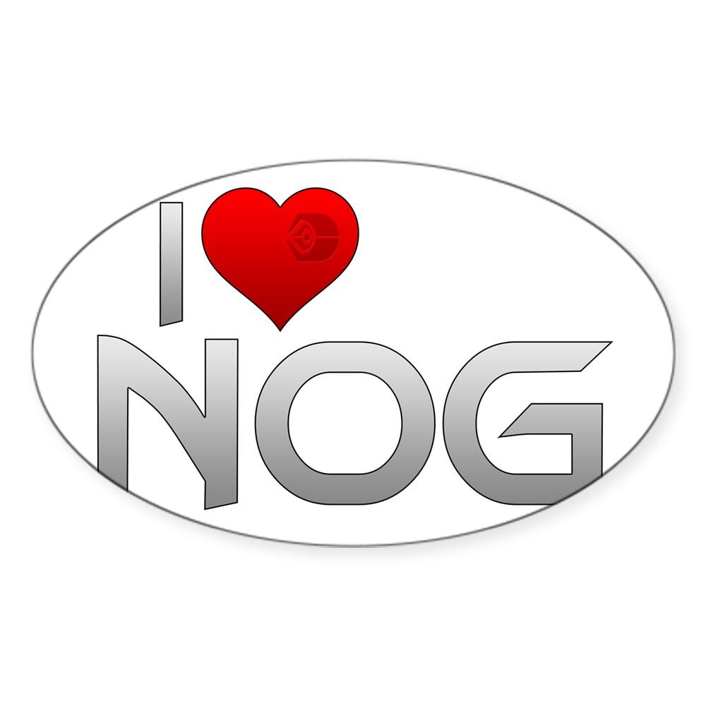 I Heart Nog Oval Sticker