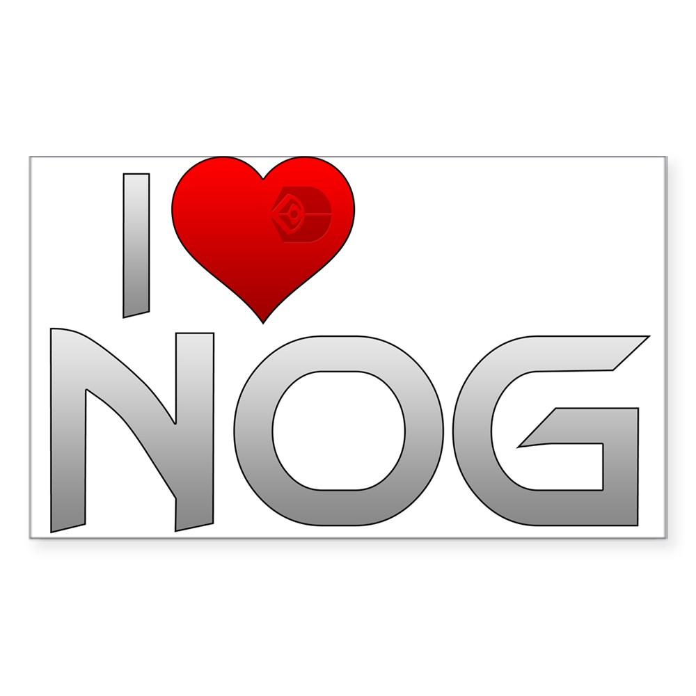 I Heart Nog Rectangle Sticker