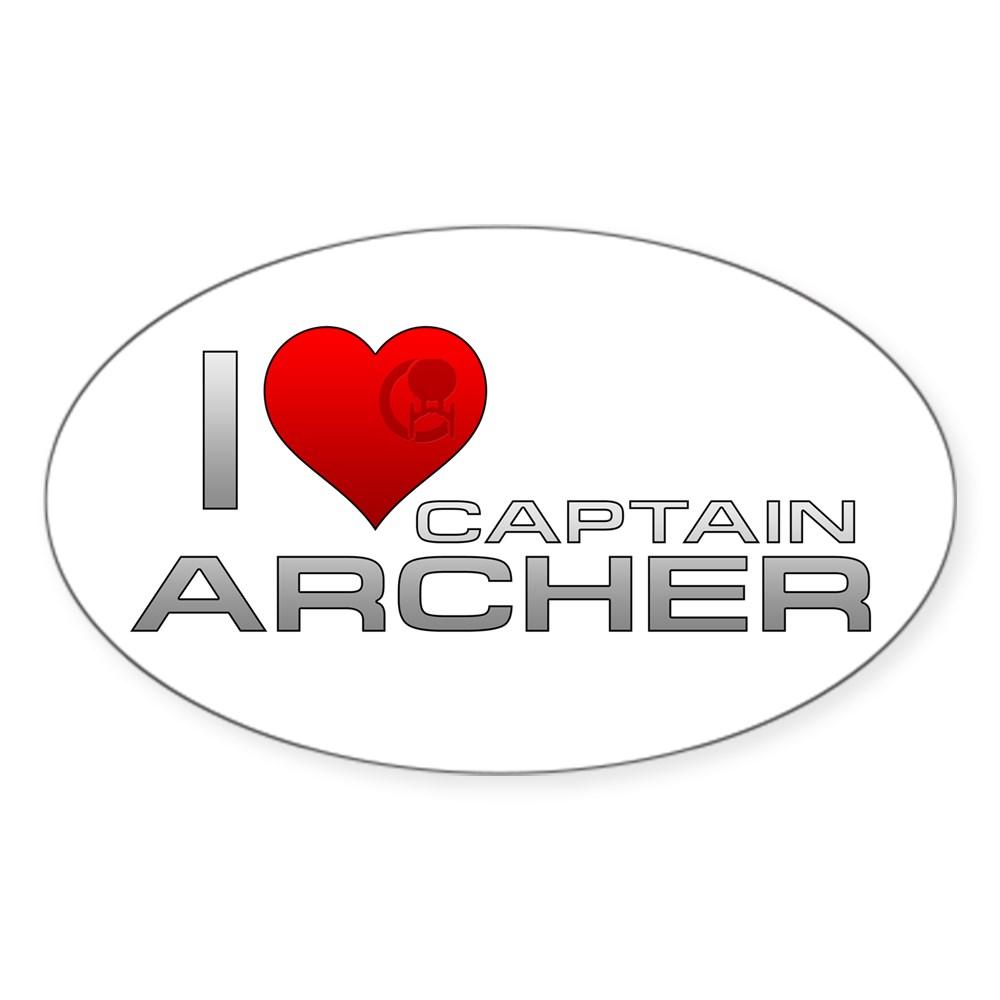 I Heart Captain Archer Oval Sticker