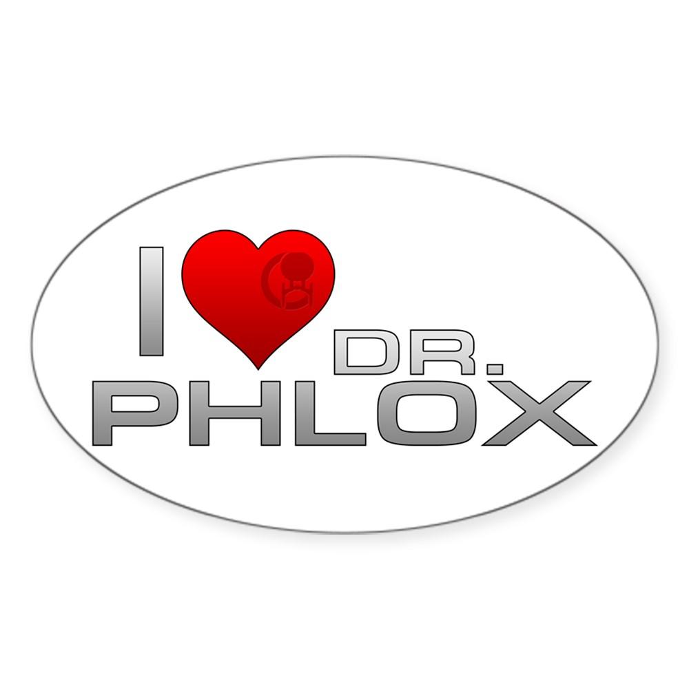 I Heart Dr. Phlox Oval Sticker