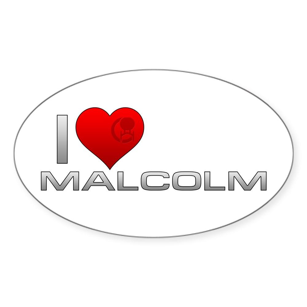 I Heart Malcolm Oval Sticker