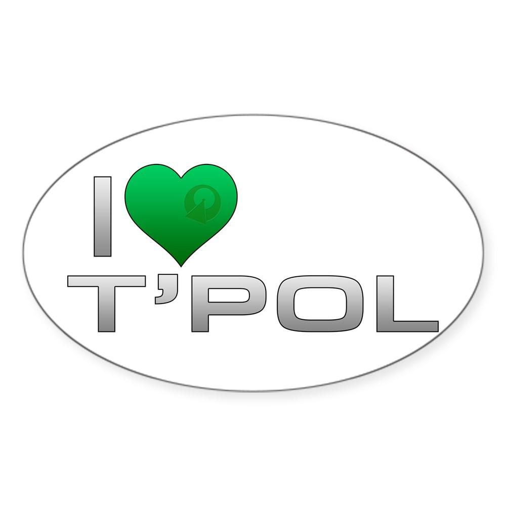 I Heart T'Pol - Green Heart Oval Sticker