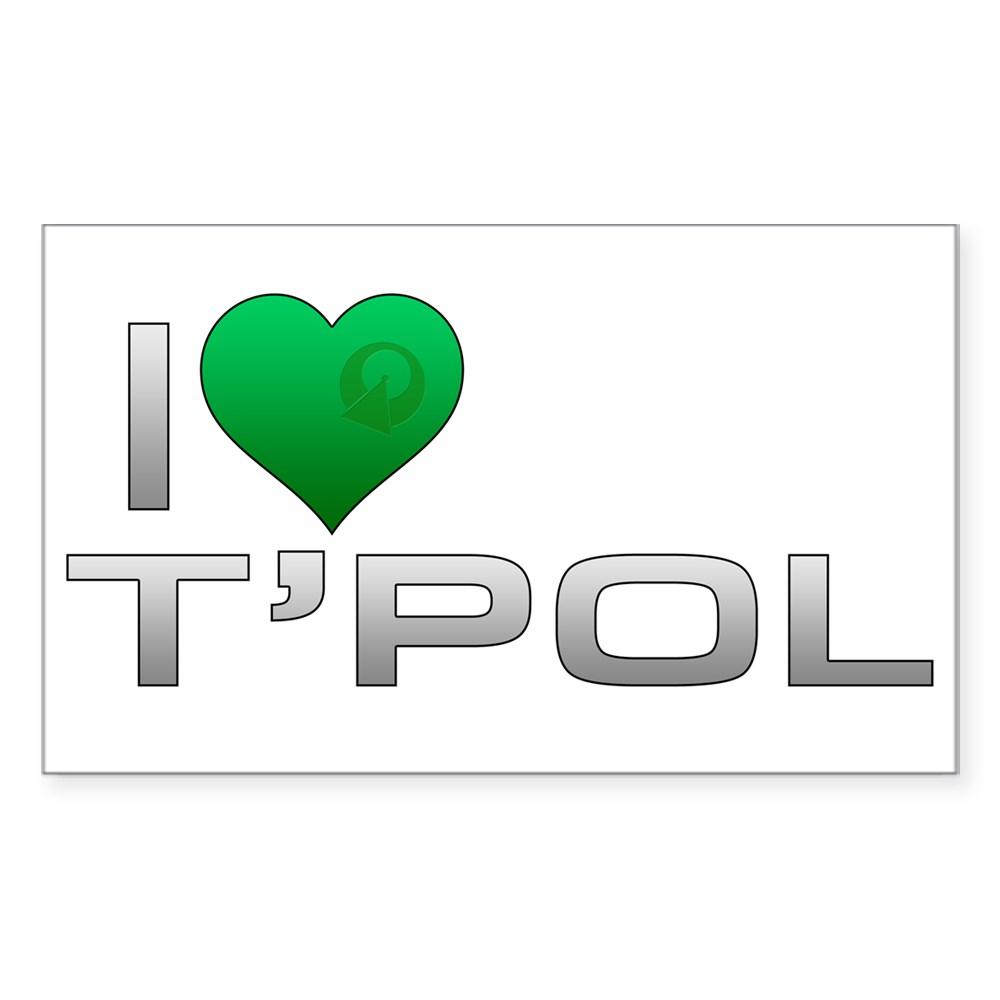 I Heart T'Pol - Green Heart Rectangle Sticker