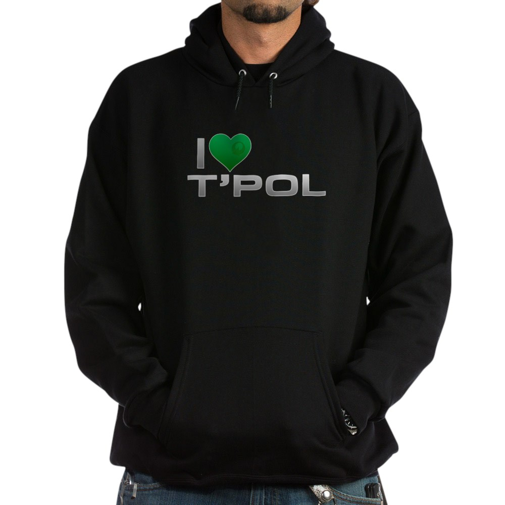 I Heart T'Pol - Green Heart Dark Hoodie