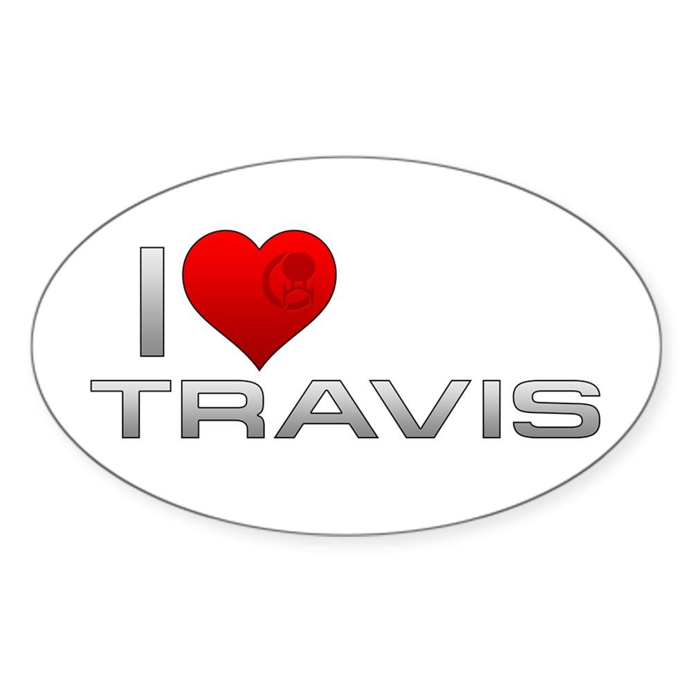 I Heart Travis Oval Sticker