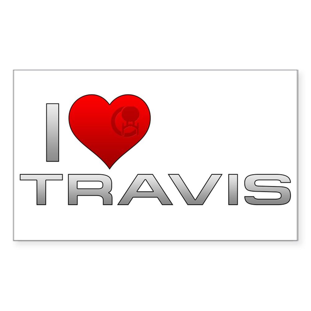 I Heart Travis Rectangle Sticker