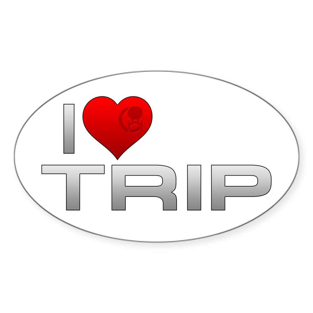 I Heart Trip Oval Sticker