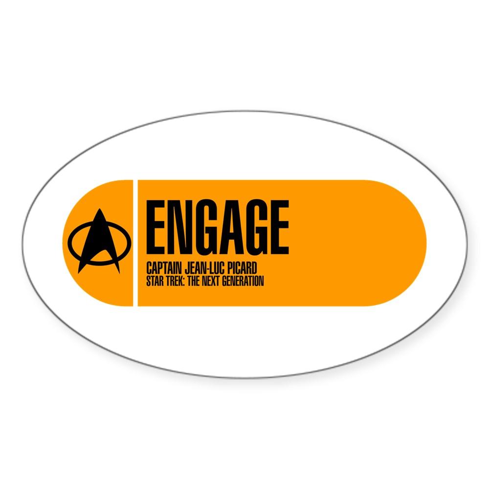 Engage - Star Trek Quote Oval Sticker