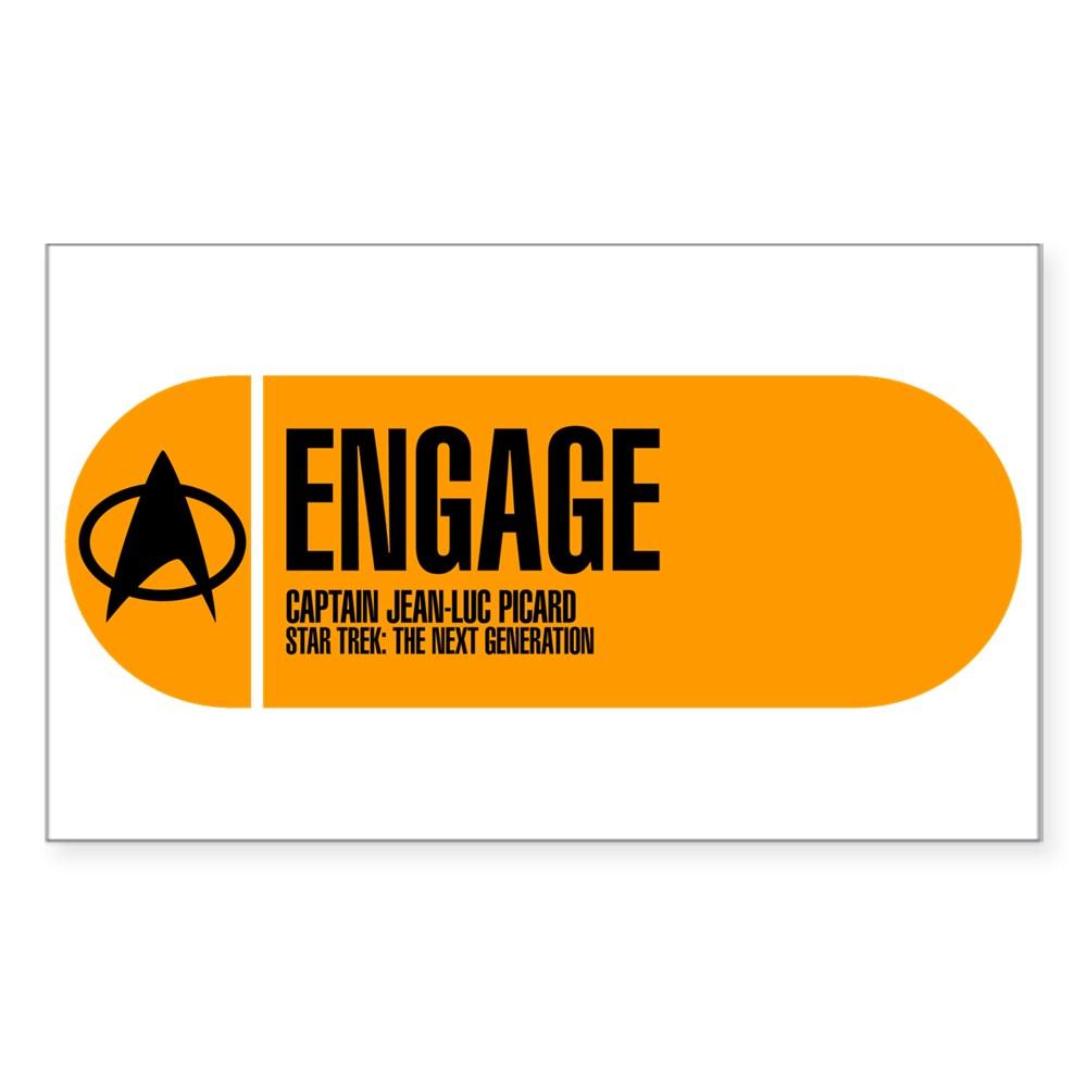 Engage - Star Trek Quote Rectangle Sticker