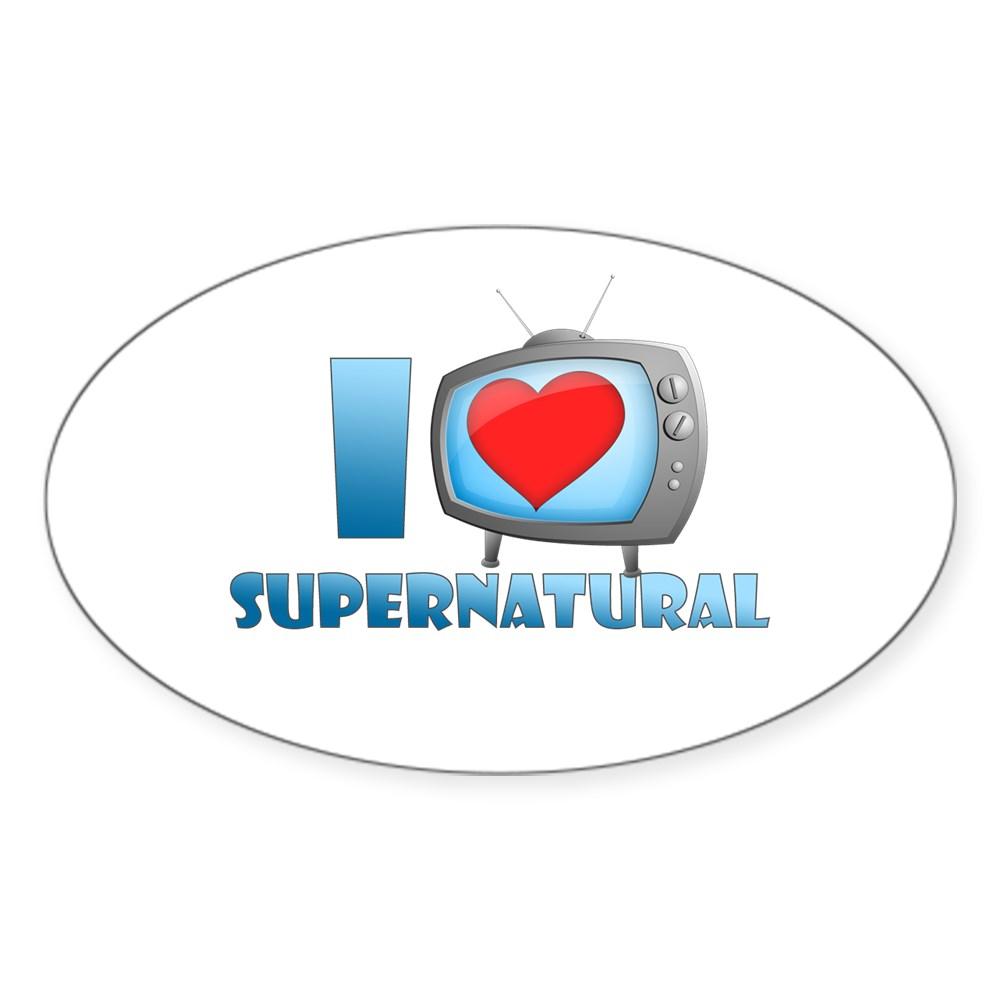 I Heart Supernatural Oval Sticker