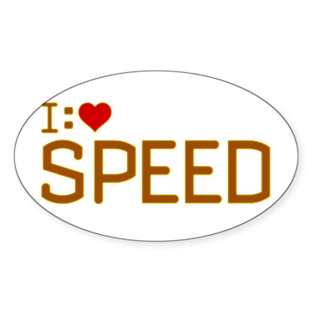 I Heart Speed Oval Sticker