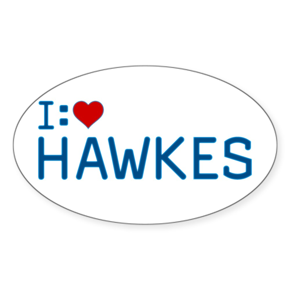 I Heart Hawkes Oval Sticker