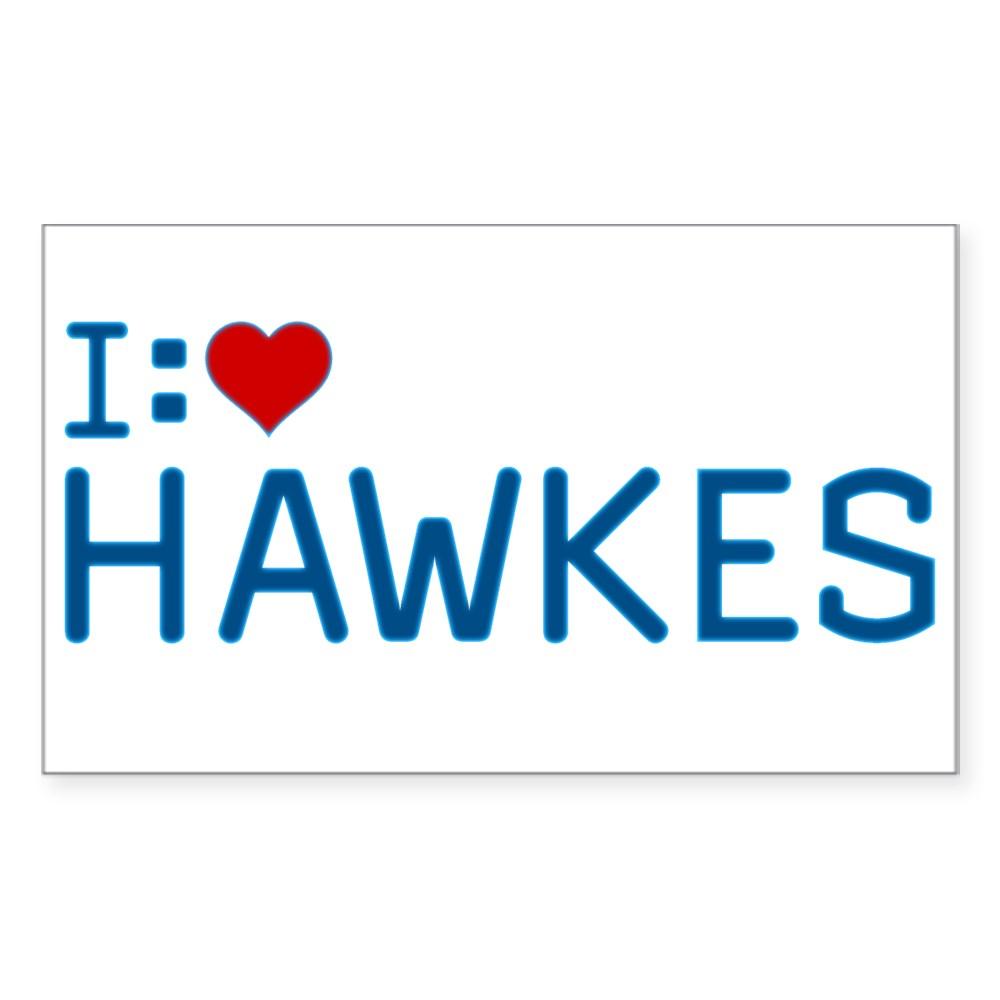 I Heart Hawkes Rectangle Sticker