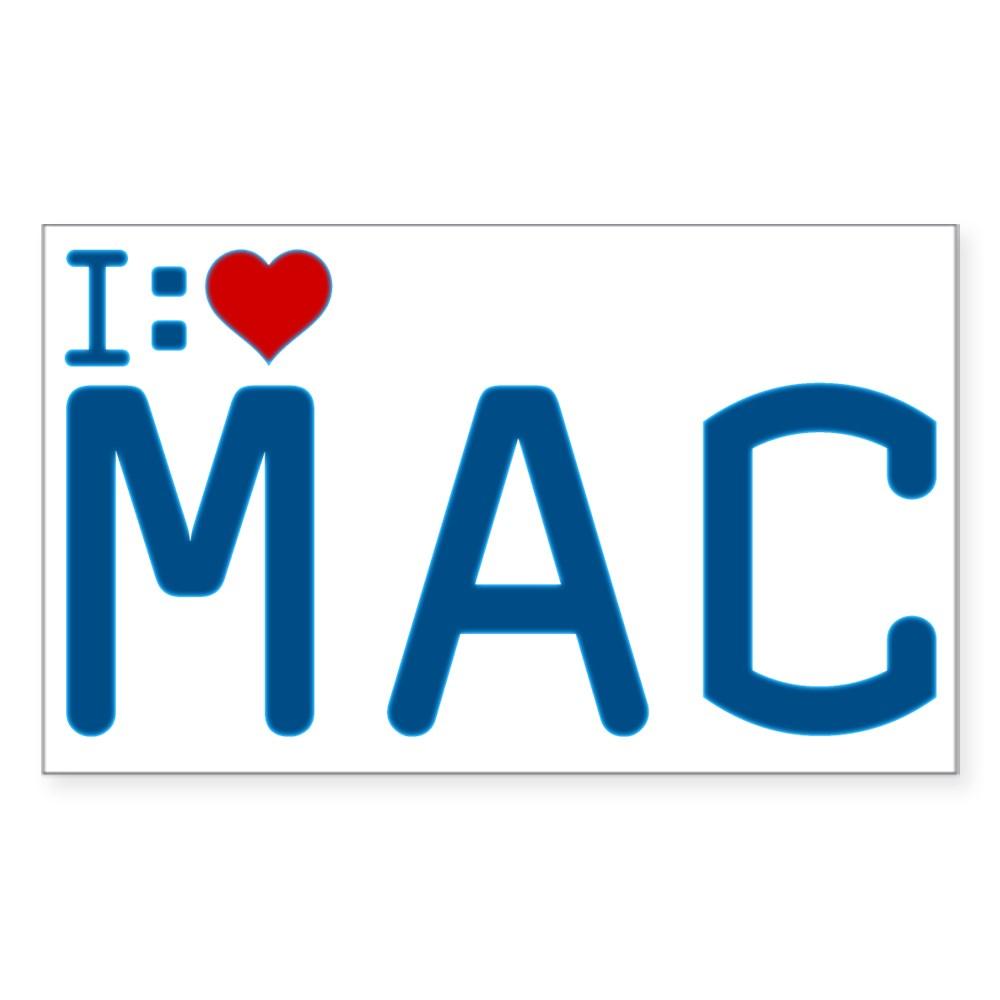 I Heart Mac Rectangle Sticker