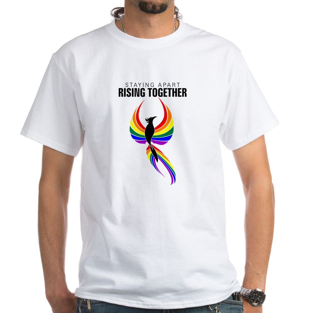 Staying Apart Rising Together LGBTQ Phoenix White T-Shirt