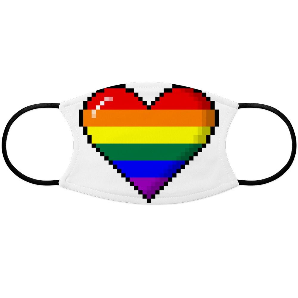 LGBT Rainbow Pride 8-Bit Pixel Heart Face Mask