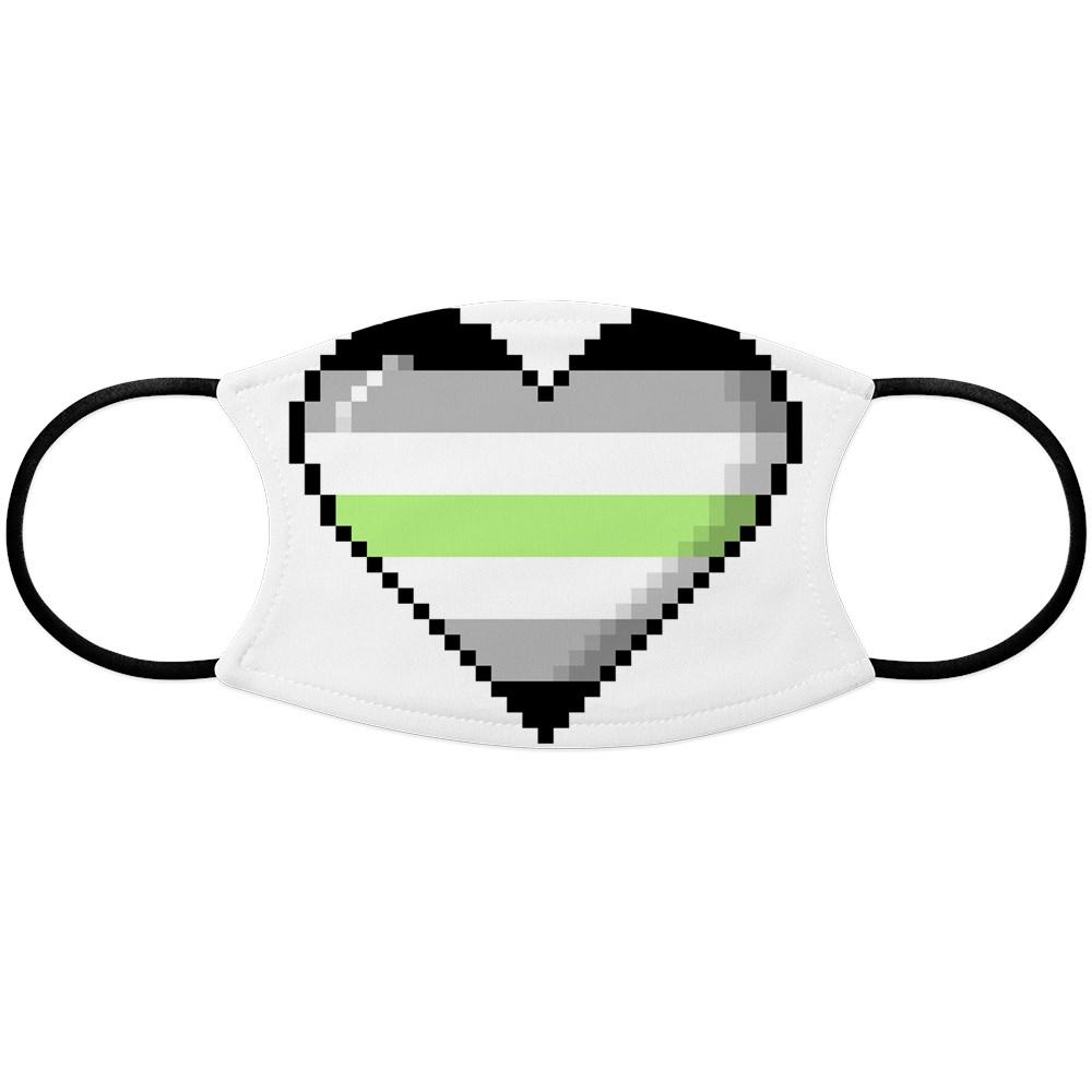 Agender Pride 8-Bit Pixel Heart Face Mask