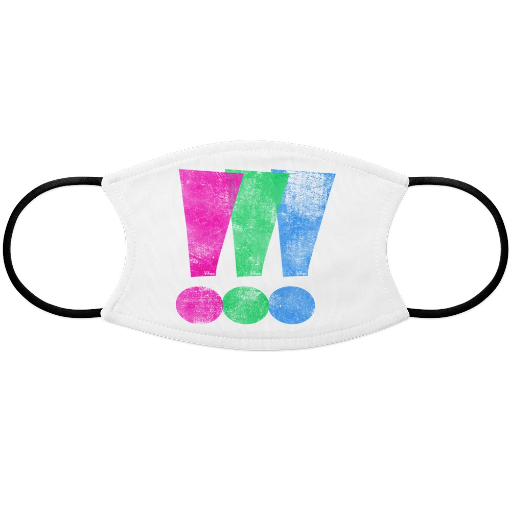 Distressed Polysexual Pride Exclamation Point Face Mask