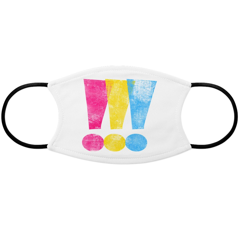 Distressed Pansexual Pride Exclamation Points Face Mask