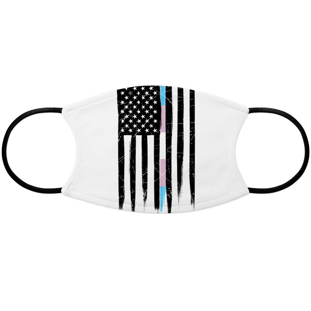 LGBT Transgender Pride Thin Line American Flag Face Mask
