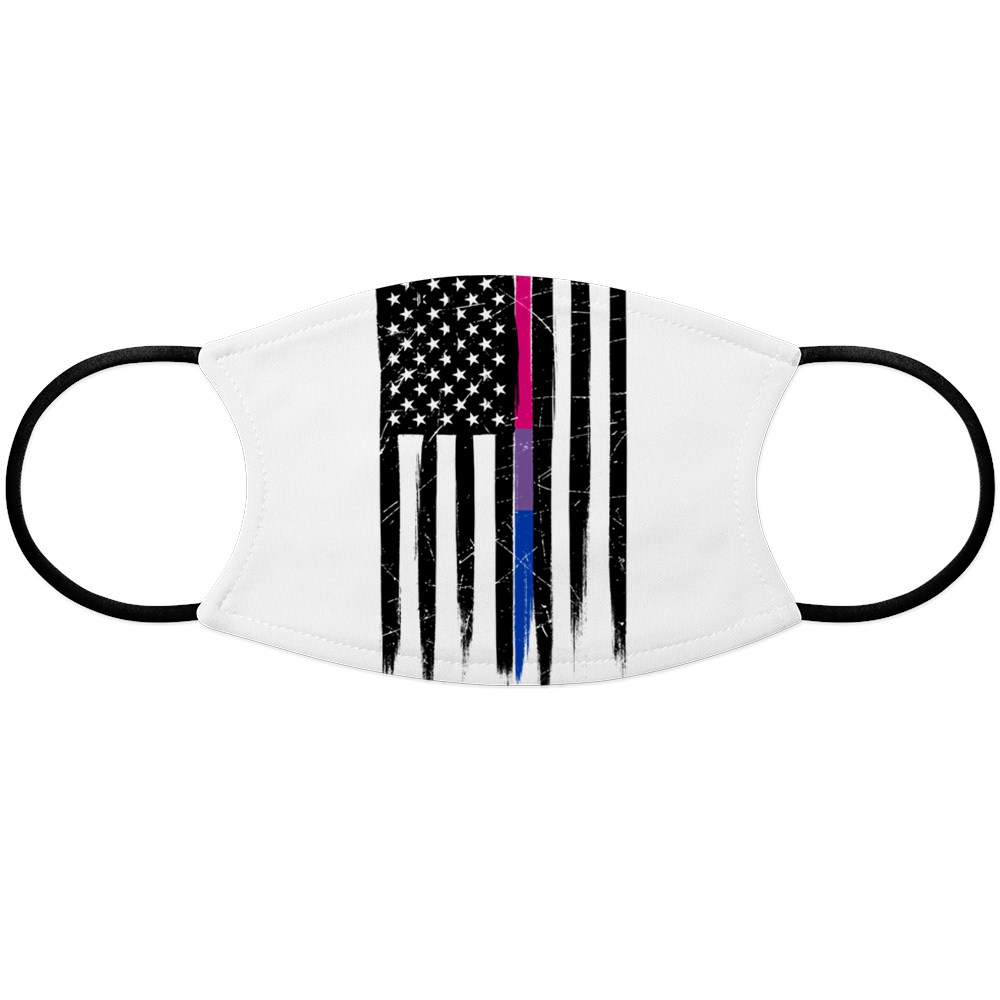 Bisexual Pride Thin Line American Flag Face Mask
