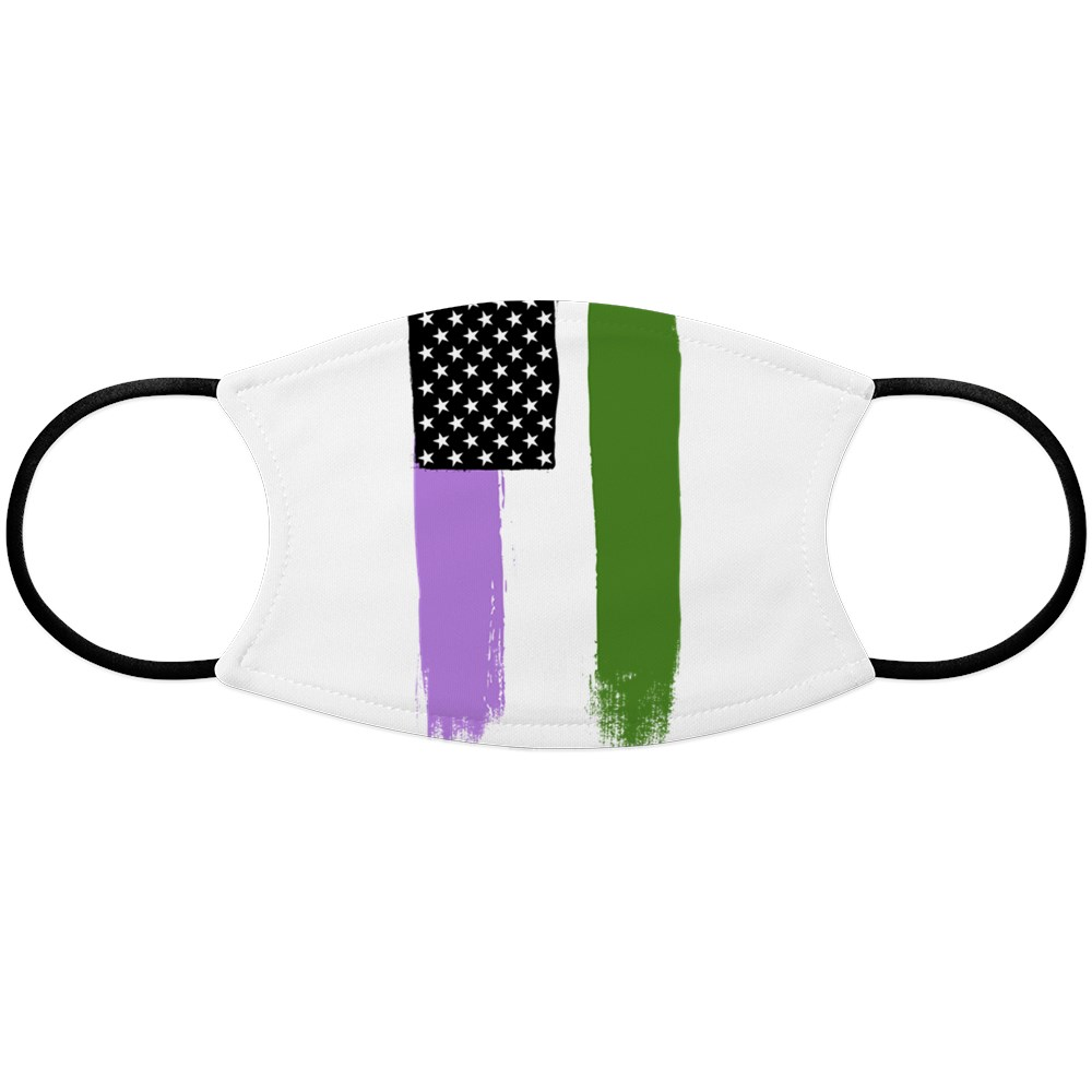 Genderqueer Pride Flag Stars and Stripes Flag Face Mask