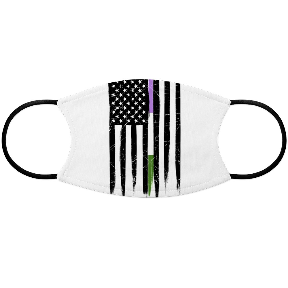 Genderqueer Pride Thin Line American Flag Face Mask