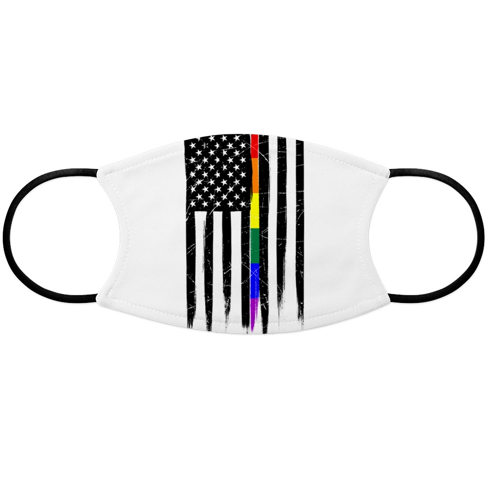 LGBT Gay Pride Thin Line American Flag Face Mask