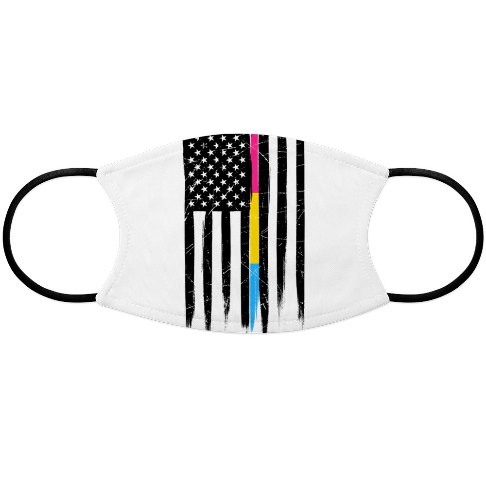 Pansexual Pride Thin Line American Flag Face Mask