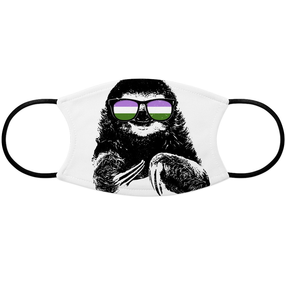 Pride Sloth Genderqueer Flag Sunglasses Face Mask