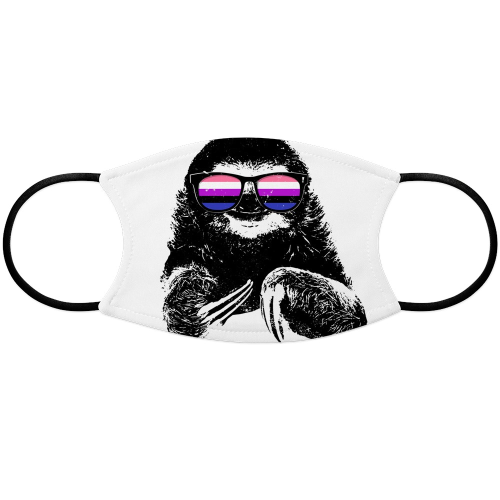 Pride Sloth Genderfluid Flag Sunglasses Face Mask