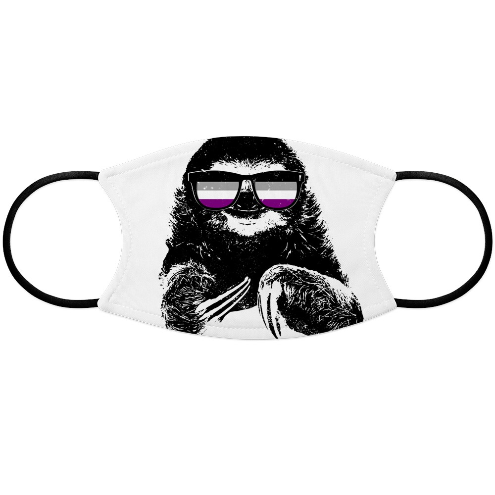 Pride Sloth Asexual Flag Sunglasses Face Mask