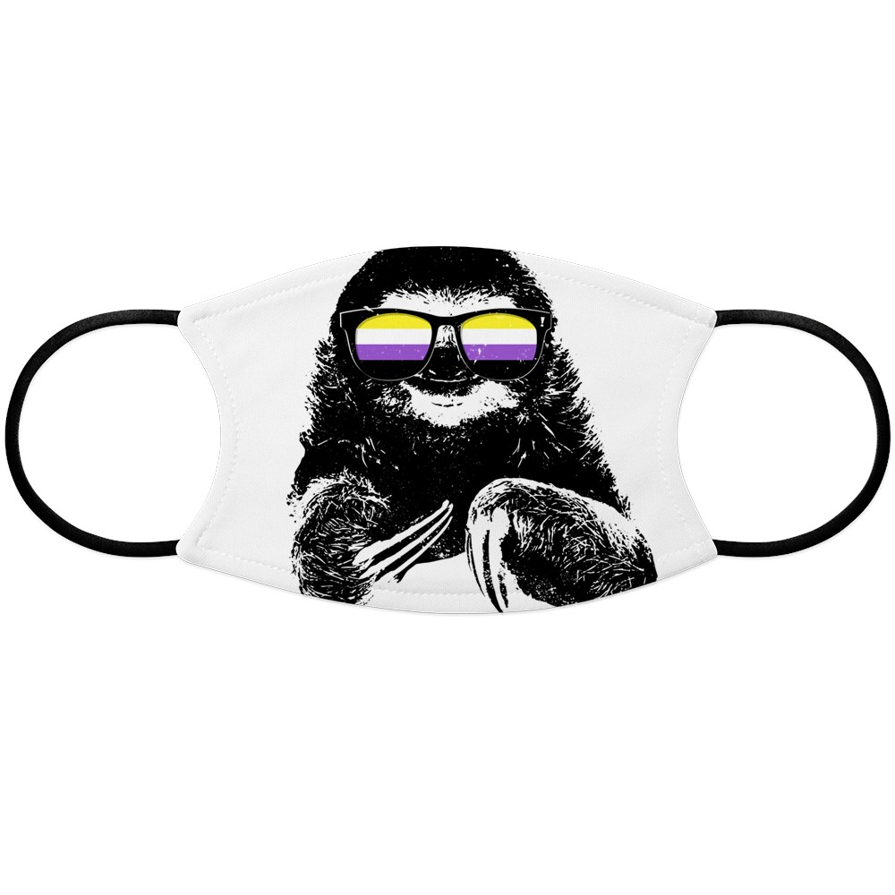 Pride Sloth Nonbinary Flag Sunglasses Face Mask