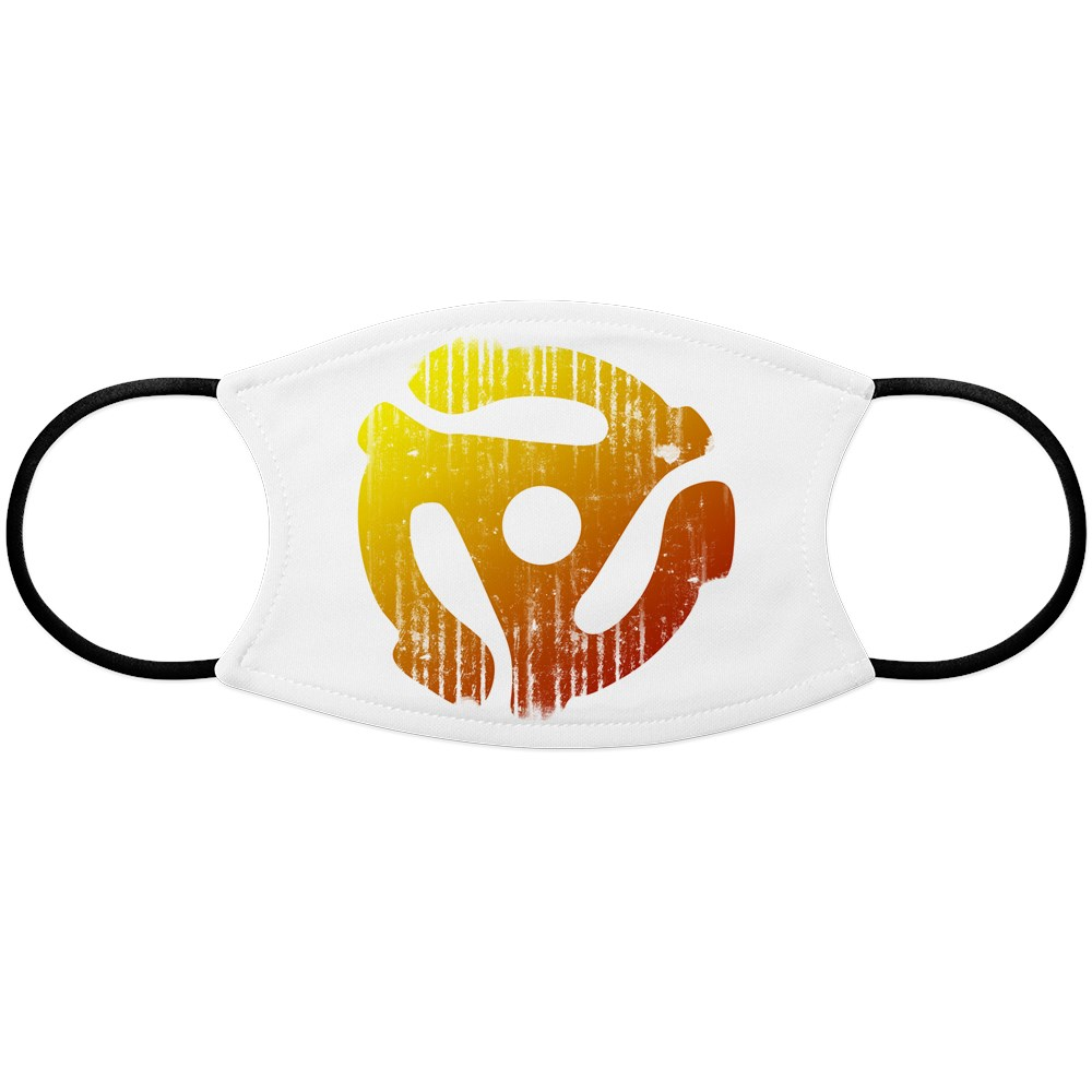 Distressed 45 RPM Adapter Face Mask