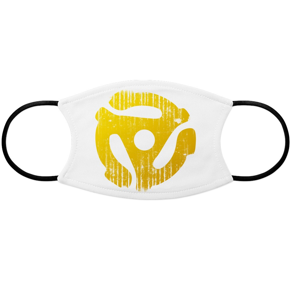Distressed Yellow 45 RPM Adapter Face Mask