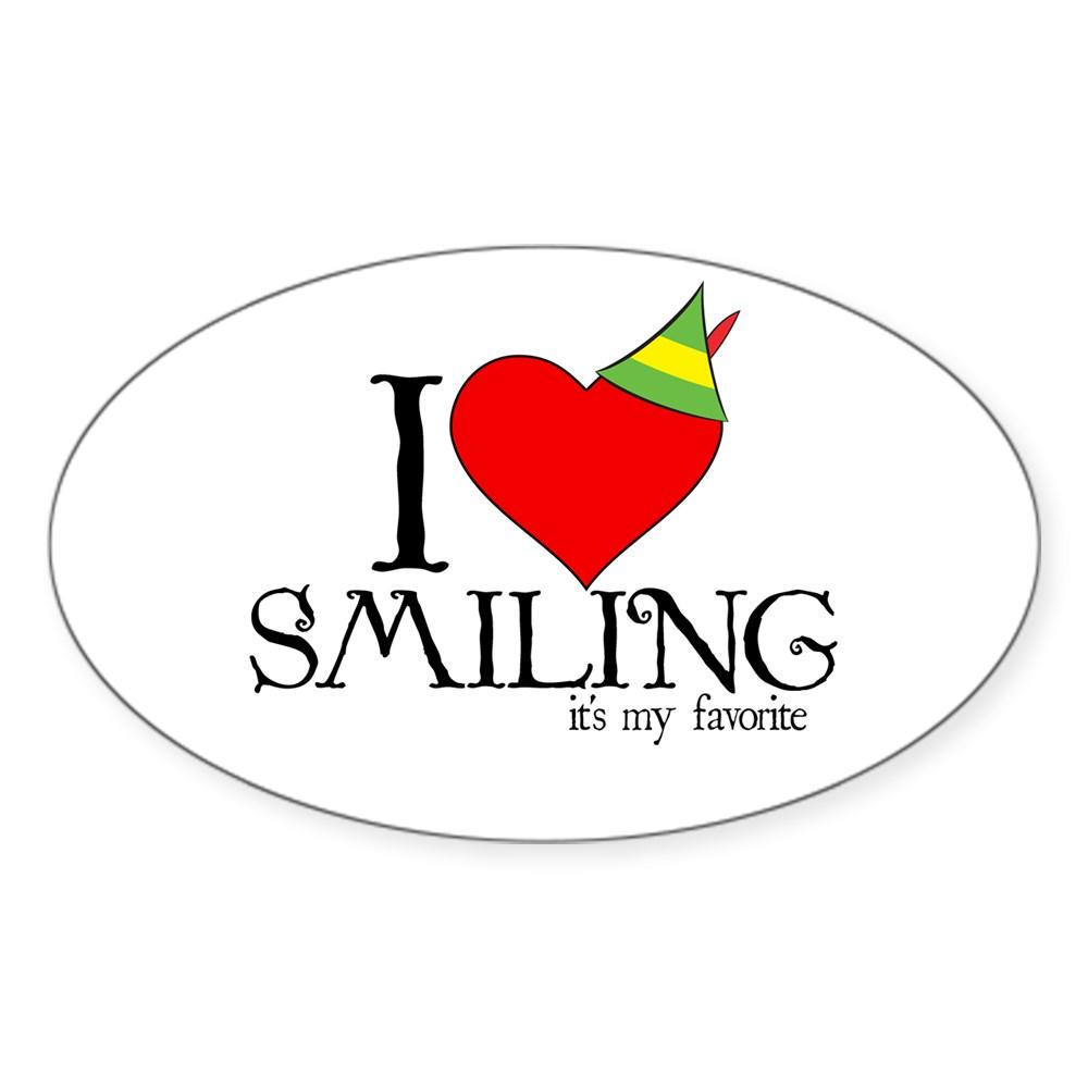 Elf - I Heart Smiling Oval Sticker