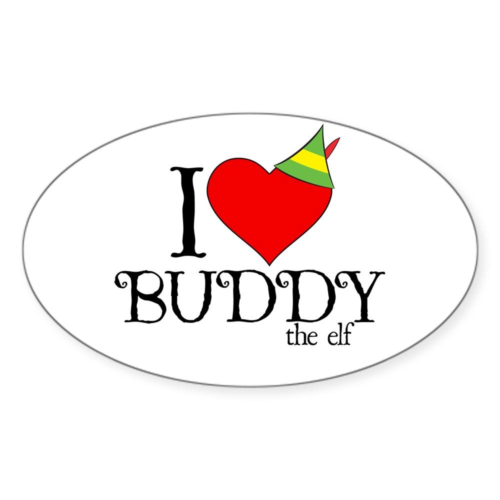 I Heart Buddy the Elf Oval Sticker