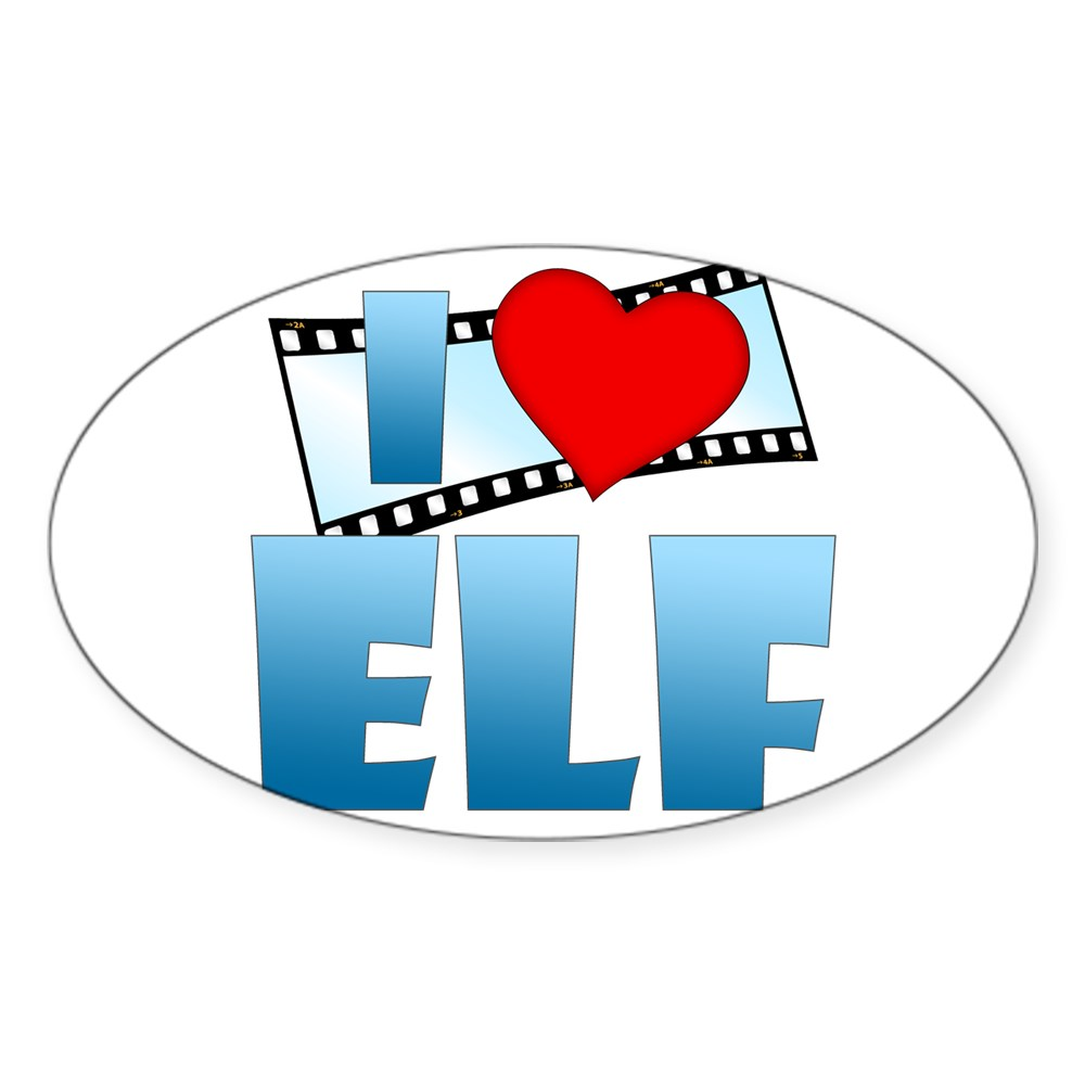 I Heart Elf Oval Sticker