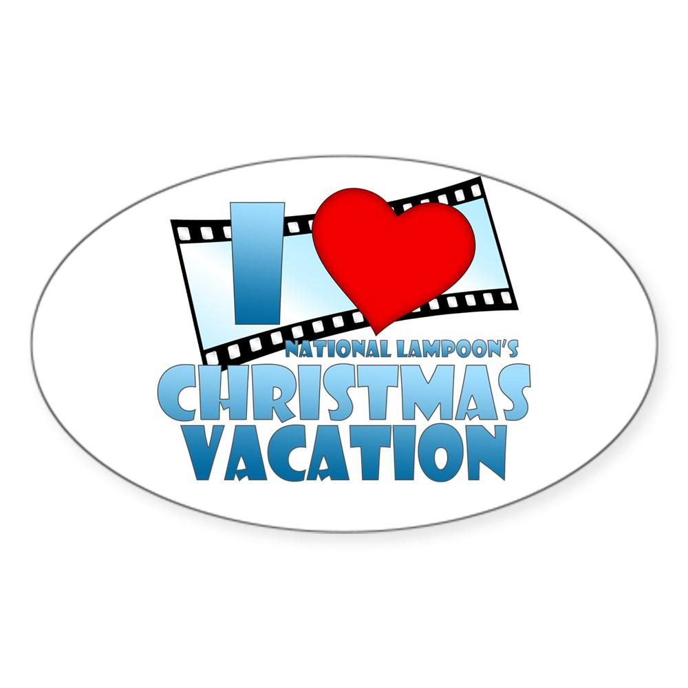 I Heart Christmas Vacation Oval Sticker