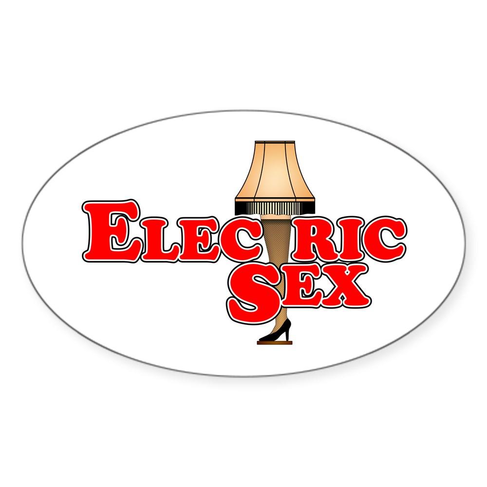 Electric Sex Leg Lamp Oval Sticker