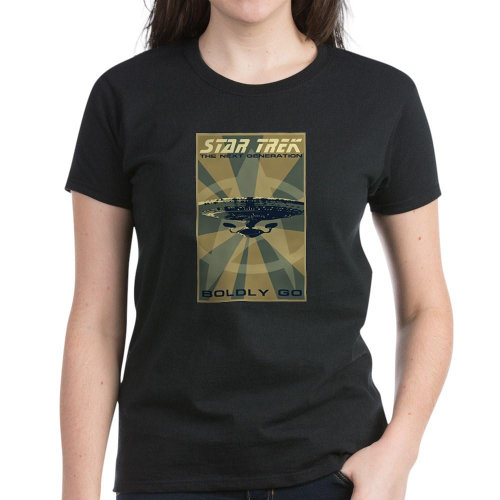 Retro Star Trek: The Next Generation Poster Women's Dark T-Shirt