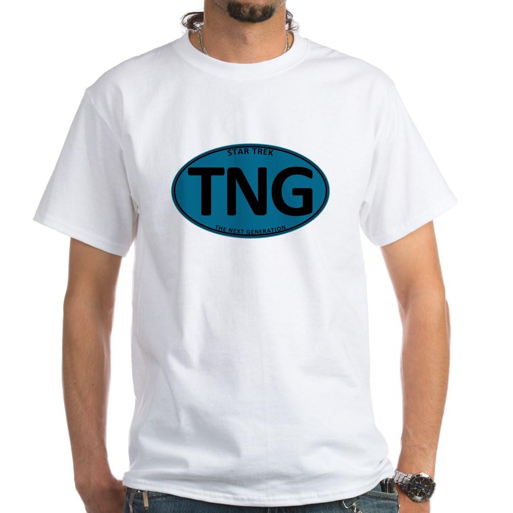 Star Trek: TNG Blue Oval White T-Shirt