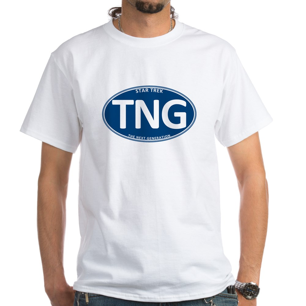 Star Trek: TNG Blue 2 Oval White T-Shirt
