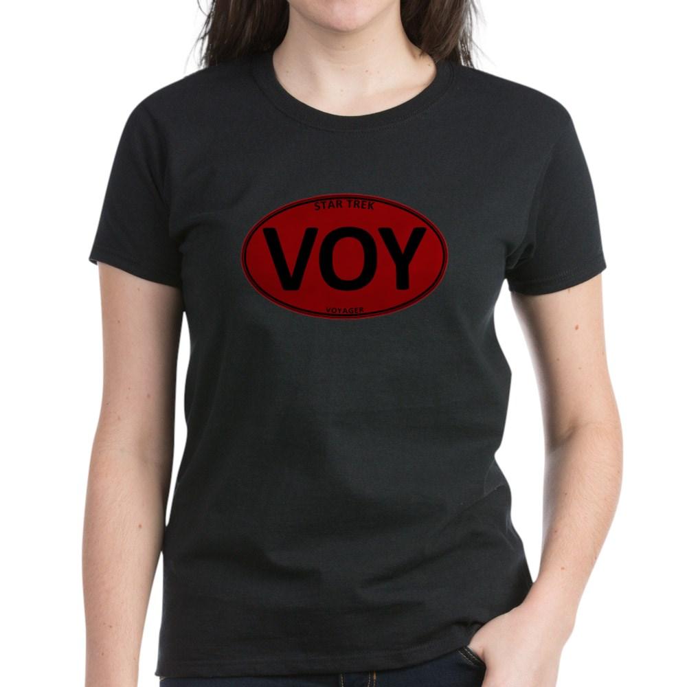 Star Trek: VOY Red Oval Women's Dark T-Shirt