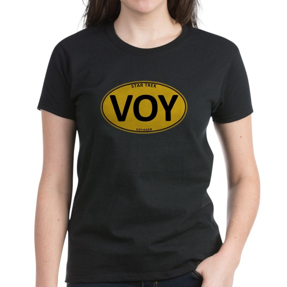 Star Trek: VOY Gold Oval Women's Dark T-Shirt