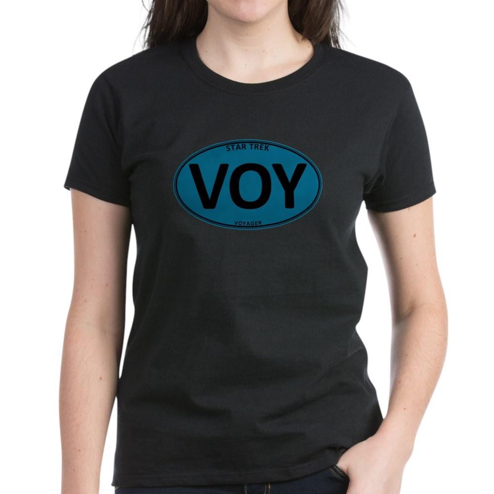 Star Trek: VOY Blue Oval Women's Dark T-Shirt