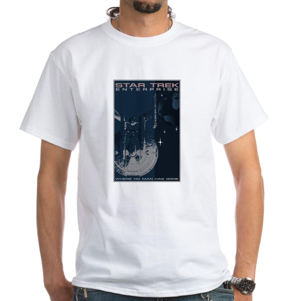Retro Star Trek: Enterprise Poster White T-Shirt