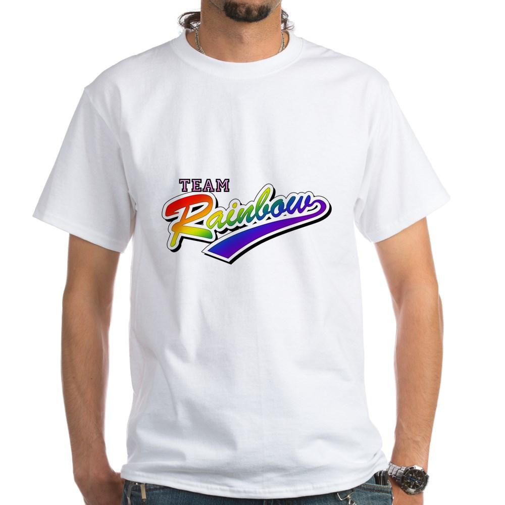 Team Rainbow LGBT Gay Pride White T-Shirt
