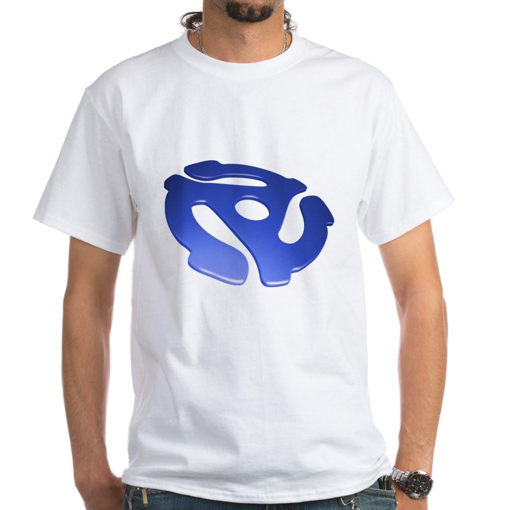 Blue 3D 45 RPM Adapter White T-Shirt